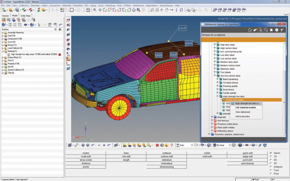 Automotive tools span materials to infotainment